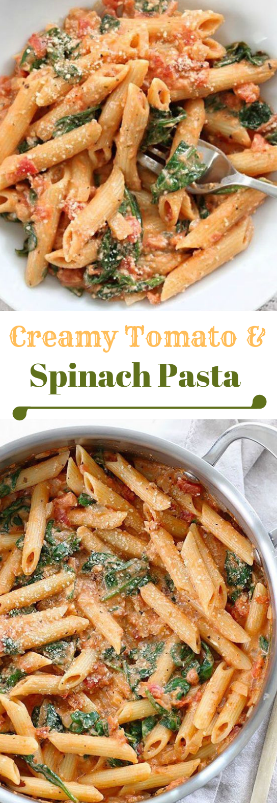 CREAMY TOMATO AND SPINACH PASTA #tomato #vegetable