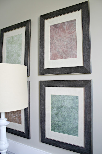 scrapbook paper in frames