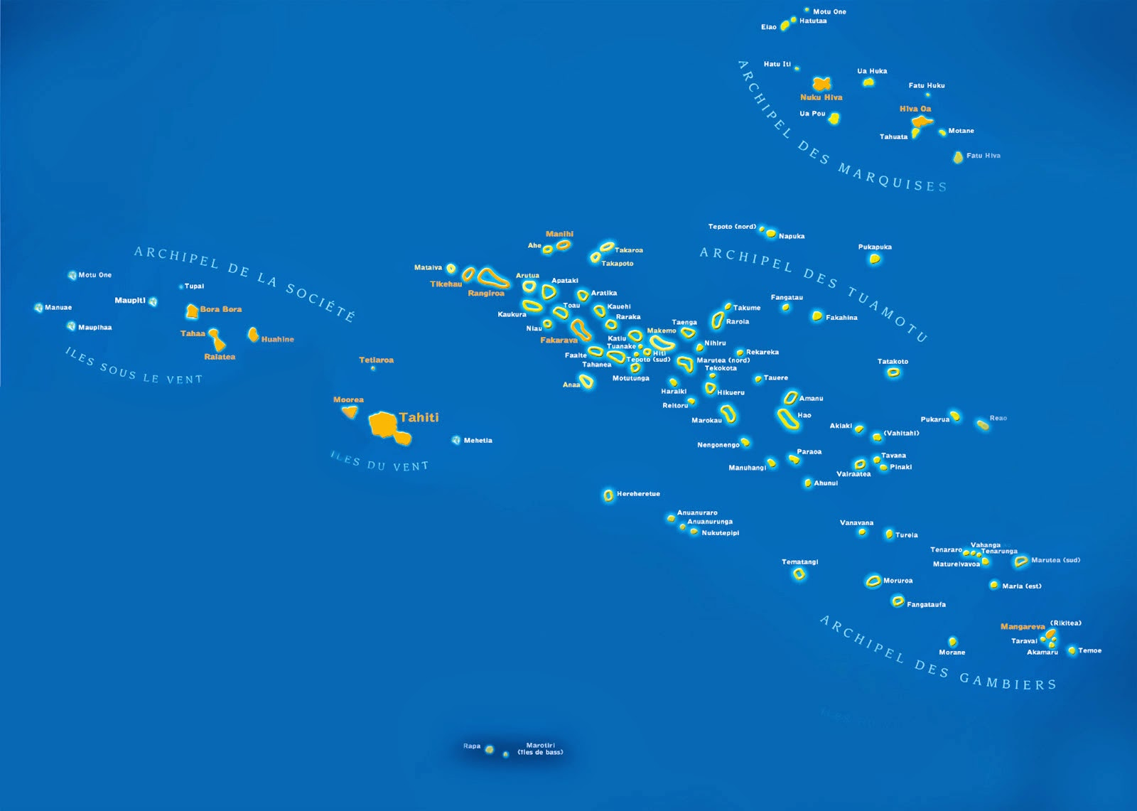 A map of Tahiti and French Polynesia.  Tahiti, our starting point is center left and our destination,  The Marquesas Islands are upper right