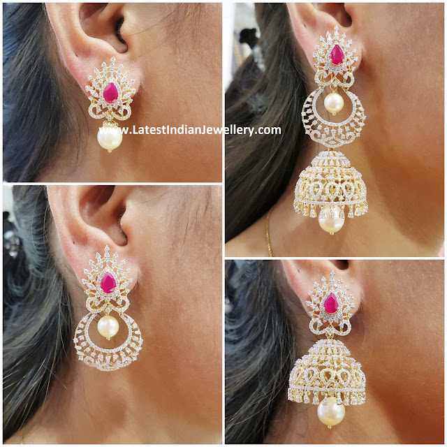 4 in 1 Detachable Diamond Jhumki