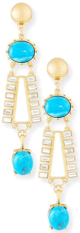 Sequin Turquoise & Crystal Dangle Earrings shown in Turquoise