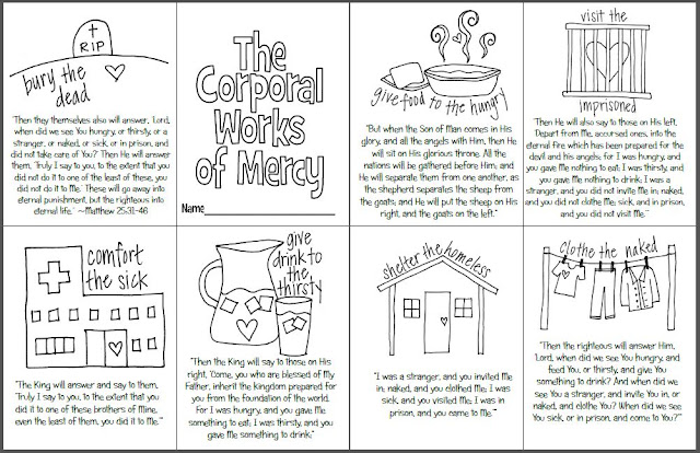 Corporal And Spiritual Works Of Mercy Worksheet Free ...
