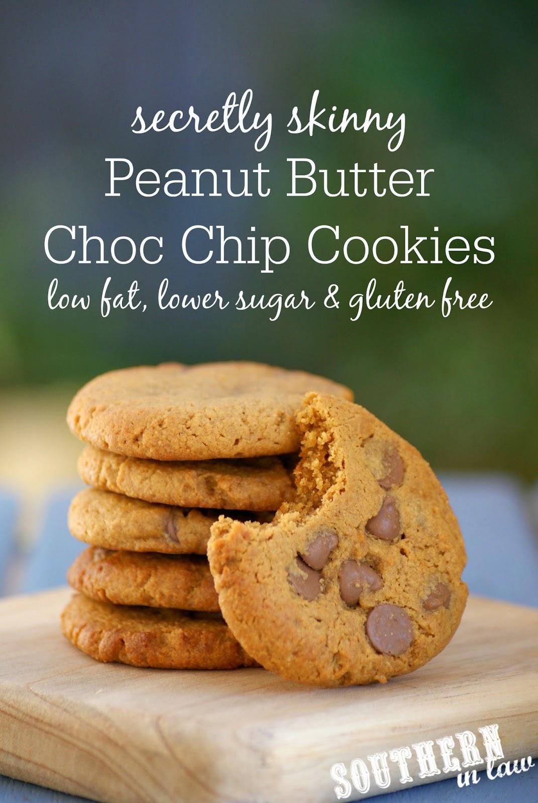 Secretly Skinny Peanut Butter Chocolate Chip Cookie Recipe - low fat, gluten free, healthy, low sugar - Peanut Flour Cookies Recipe