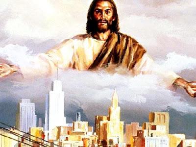 Dibujo de Jesús en el cielo a color