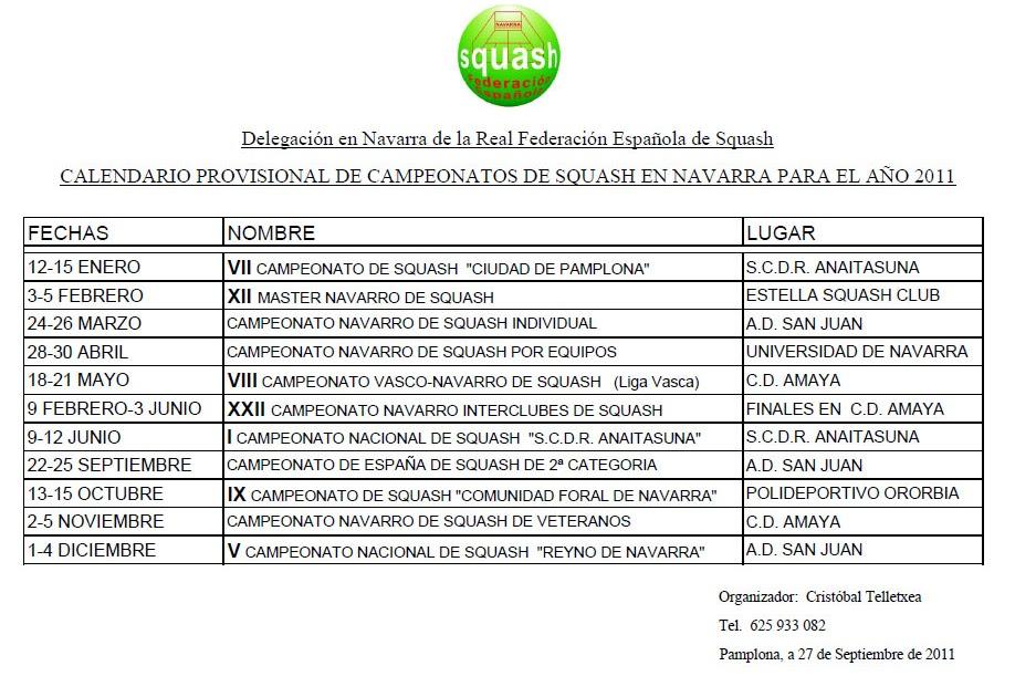 Calendario 2011 Espana.Squash Navarro Calendario 2011