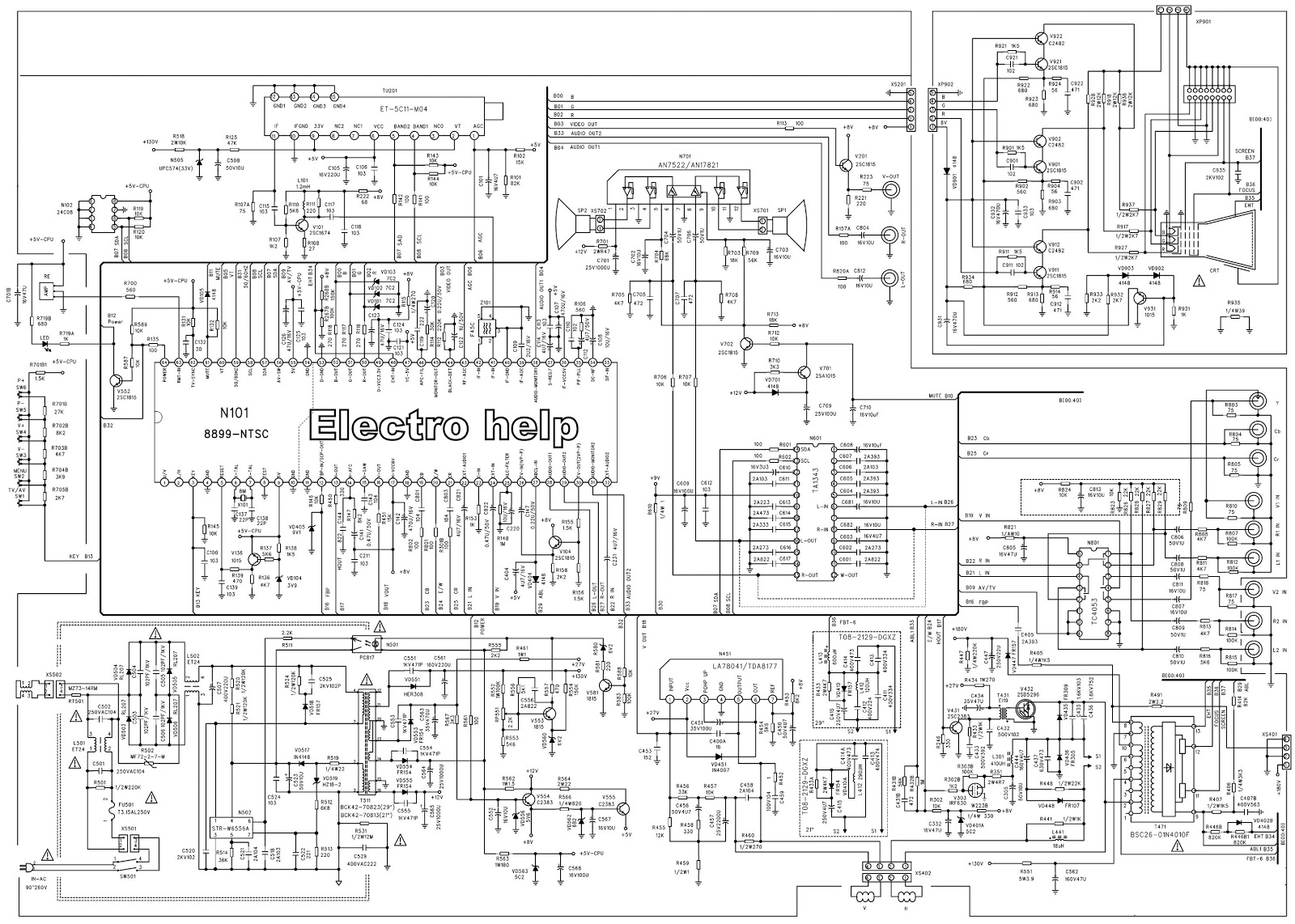 medium resolution of crt tv circuit diagram