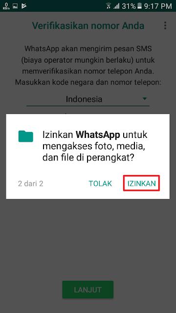 Izinkan WhatsApp untuk mengakses foto, media, dan file di perangkat?