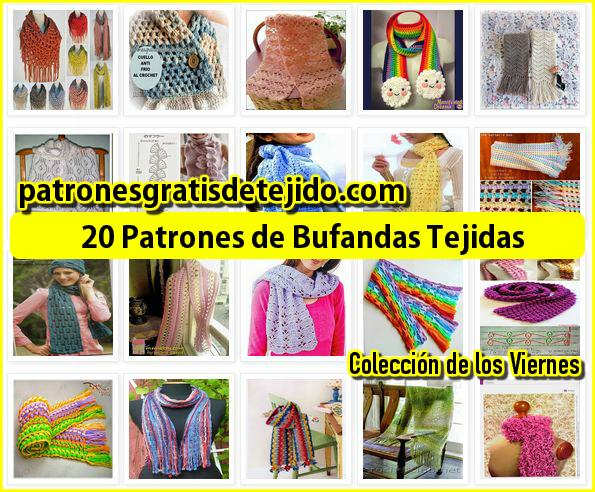 coleccion de 20 patrones de bufandas tejidas crochet y dos agujas
