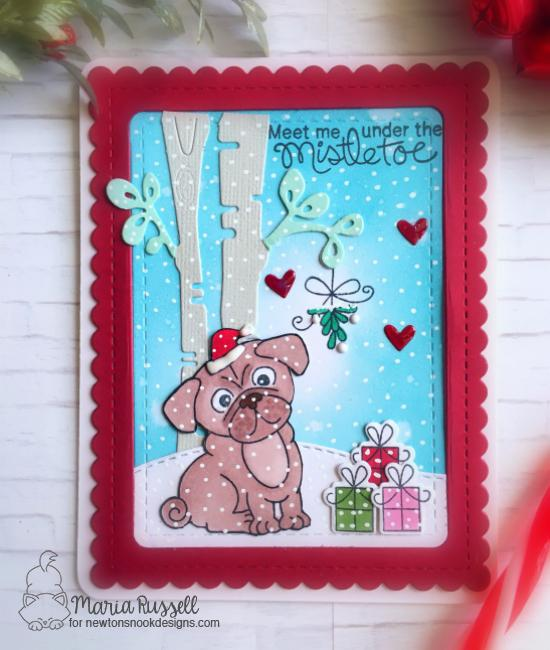 Pug Holiday Card by Maria Russell | Pug Hugs & Holiday Smooches Stamp Sets by Newton's Nook Designs #newtonsnook #handmade
