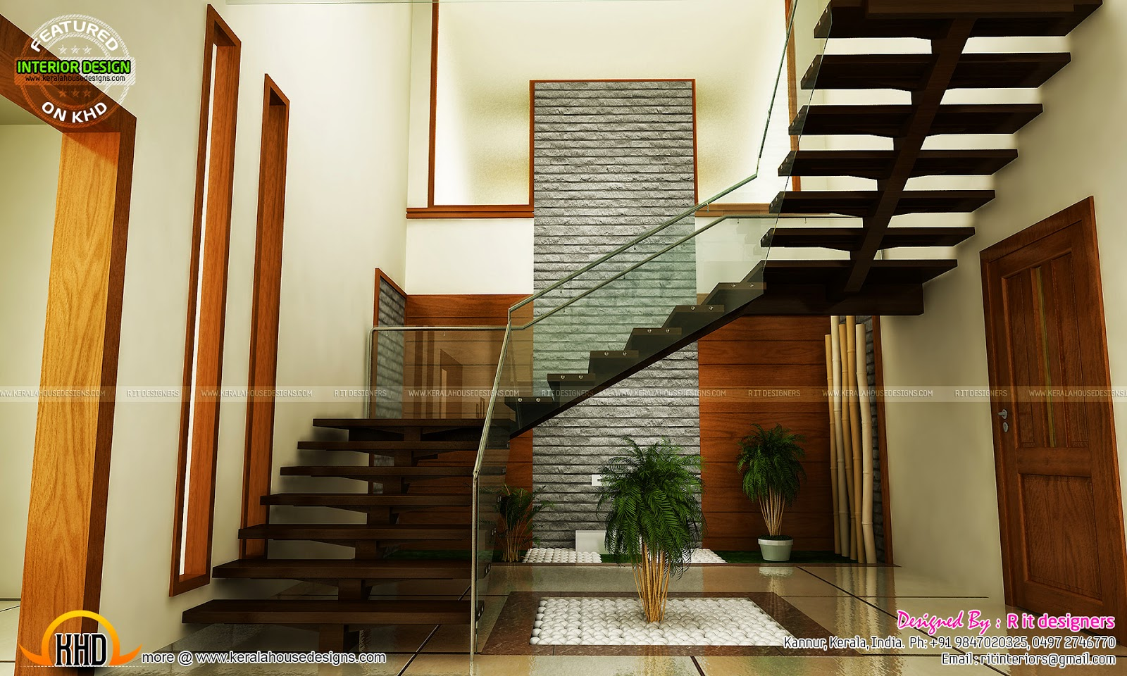 Staircase bedroom dining interiors kerala home design for Home plans with interior photos