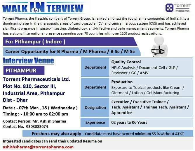 Pharma Vacancy: Walk in for Torrent (Indore) on 7th Mar 2018