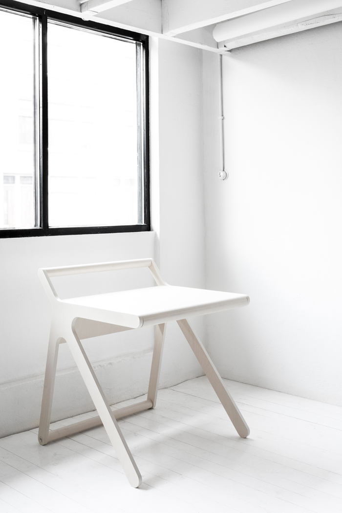 white modern desk and stool for kids from Rafa-kids