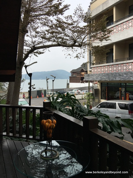 view from guest room at Full House Restaurant at Sun Moon Lake in Taiwan