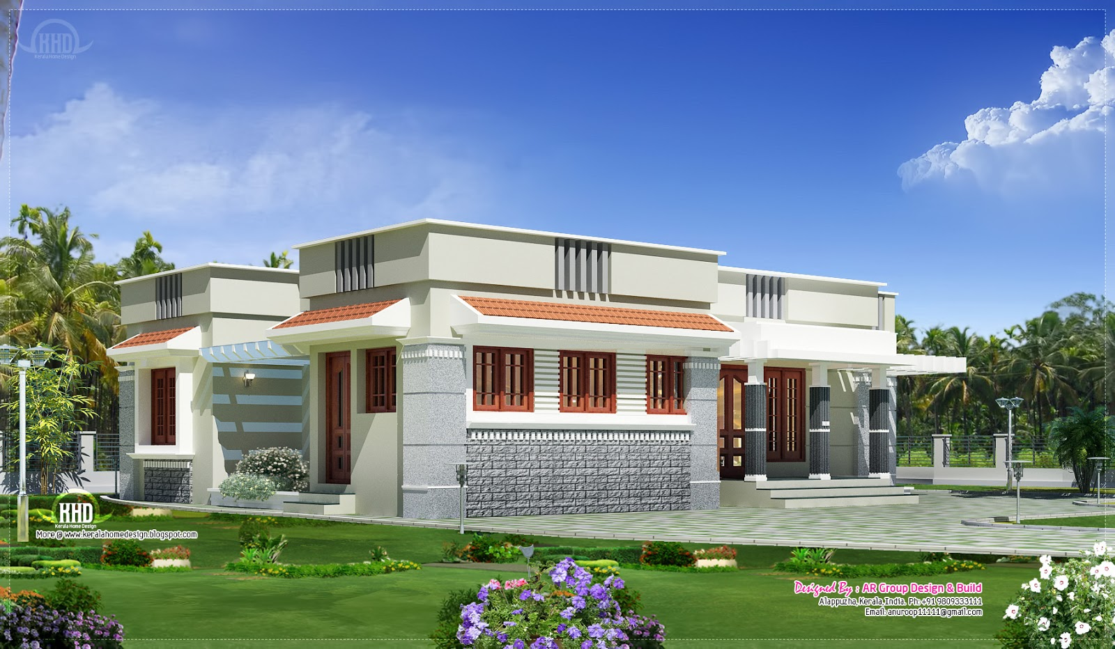 Single floor budget home design in 1300 kerala for Flat roof bungalow designs