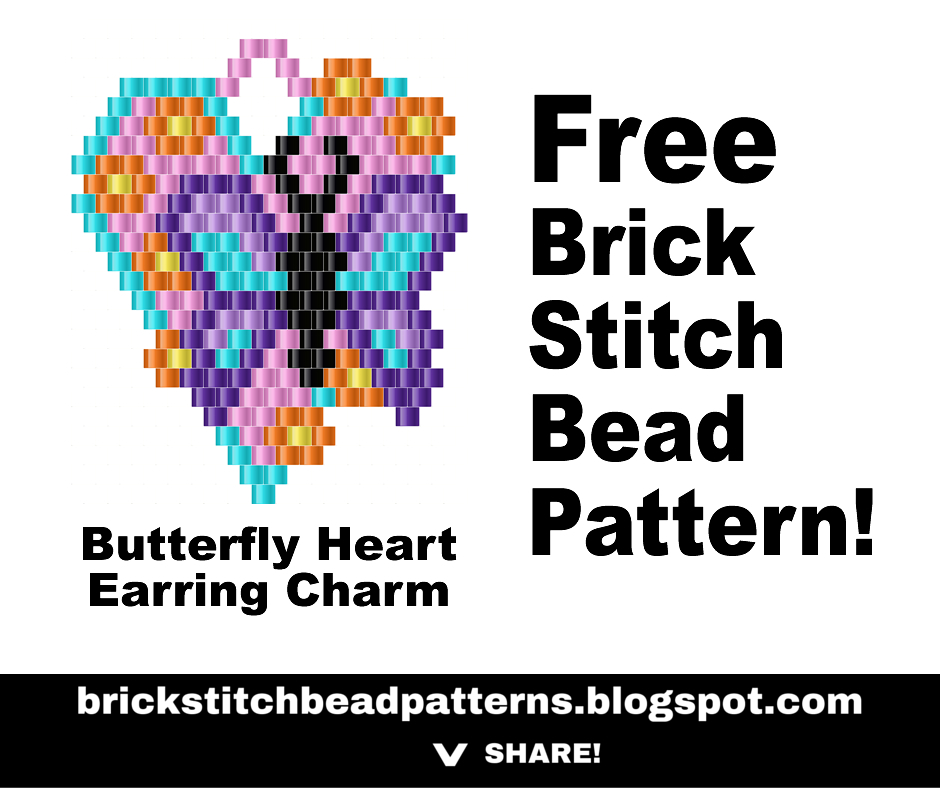 Brick Stitch Bead Patterns Journal: Butterfly Heart Brick Stitch