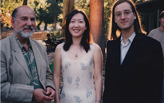 Ojai Music Festival 2002, Richard Gould from the Gould Family Foundation (left),  Kay Kyurim Rhie (center), Patricio da Silva (right).