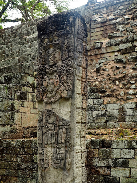 Mayan carvings at the temple ruins outside Copan, Honduras