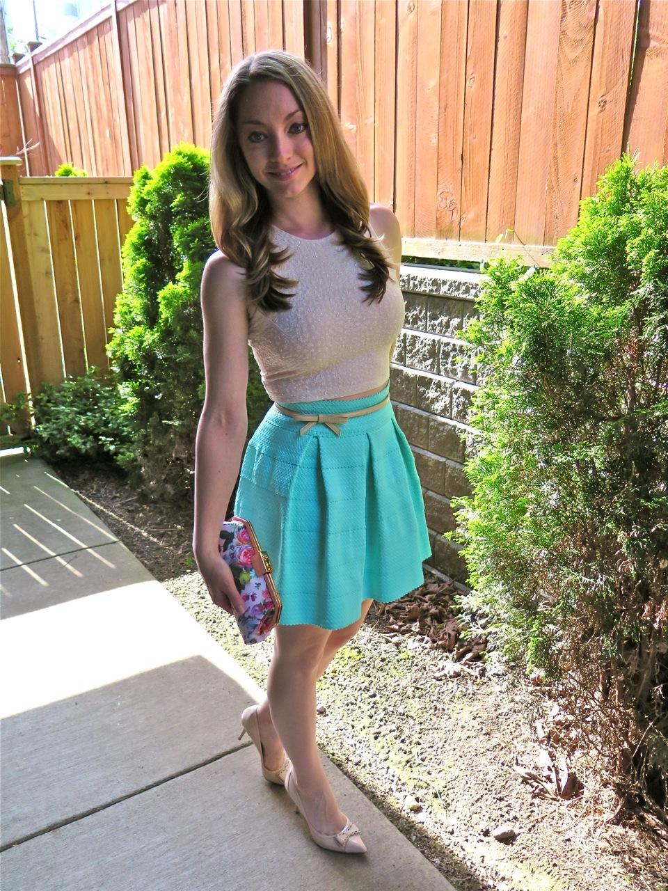 Mint Skater Skirt Ted Baker London Floral Clutch