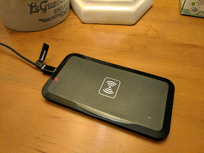 The included wireless charging pad produces a slow charge, but is great for small battery phones.