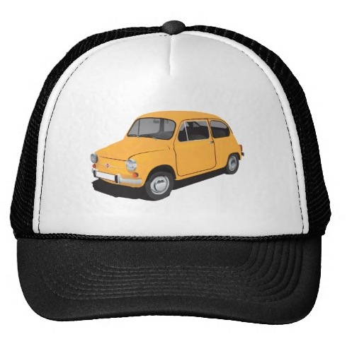 Yellow Fiat 600 trucker hat