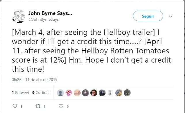 John Byrne zuando novo filme do Hellboy