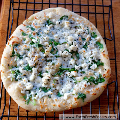 photo of a homemade copycat version of California Pizza Kitchen's White Pizza