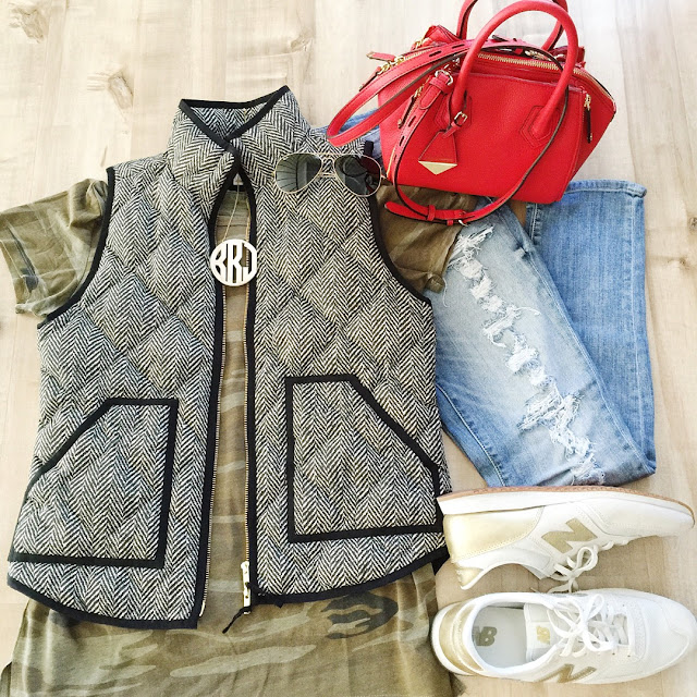 green camo top herringbone vest ripped jeans new balance sneakers red rebecca minkoff satchel monogram necklace