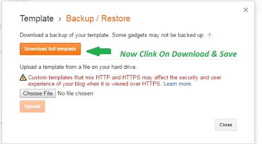 Back Up Blogger template