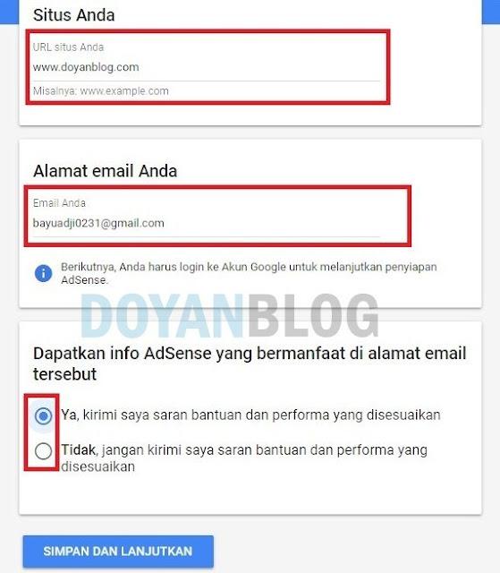 isi url dan alamat email anda kemudian simpan dan lanjutkan