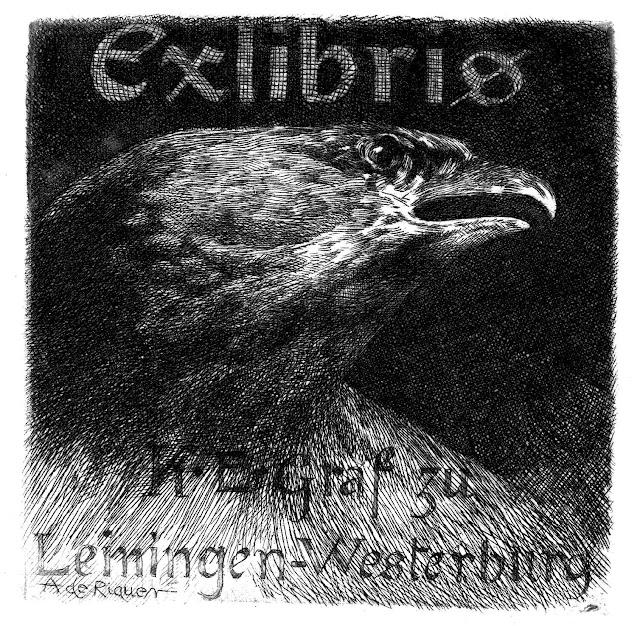 A. De Riquer 1903 bookplate illustration of an eagle's head