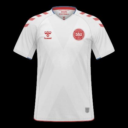 853a869964698 Camisas Dinamarca 2018   2019 - Home e Away. Home. Away. Material  Esportivo  Hummel