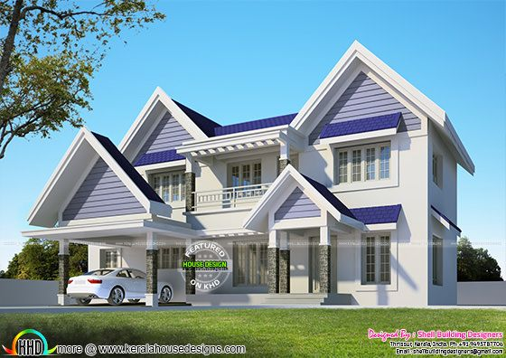 European look Sloped roof home architecture
