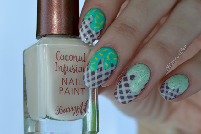 Mint flavour ice cream nails summer tutorial