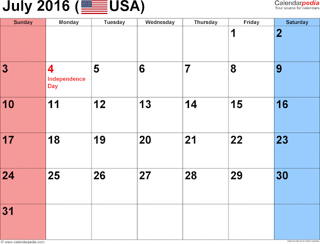 July 2016 Calendar with Holidays, July 2016 Calendar with Holidays USA, July 2016 Holiday Calendar USA, July 2016 USA Holiday Calendar