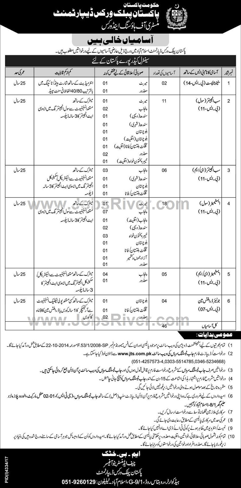 Jobs In Pakistan Public Works Department Islamabad 2018 via JTS for 48 Posts