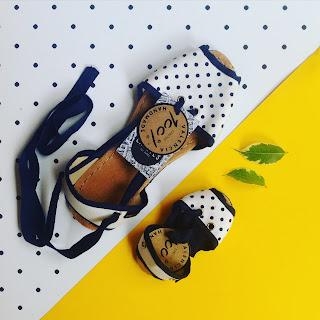 alpargatas caretes dots con suela de neumatico reciclado handmade