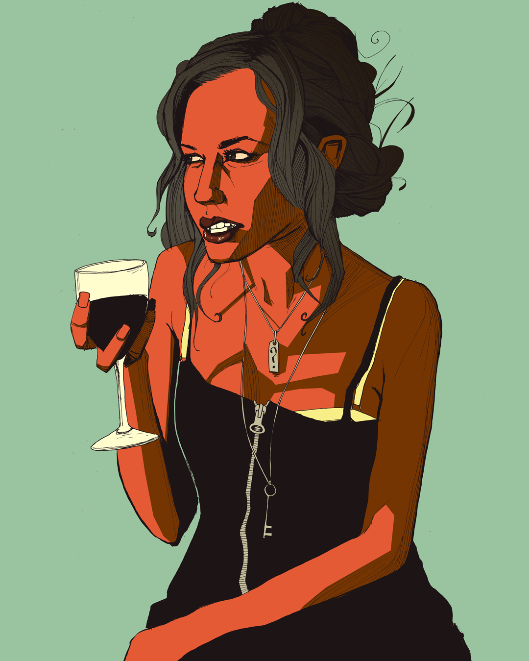 art pretty girl drinking wine drawing