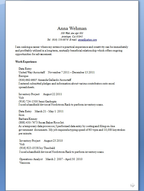 data entry resume samples in word format free download