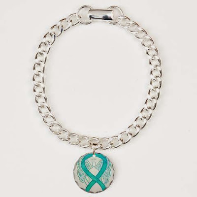 Teal Guardian Angel Awareness Ribbon Bracelet Jewelry