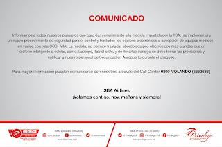 Nuevo comunicado Santa Bárbara Airlines (SBA) sobre equipos electrónicos. Nuevas restricciones de la línea aérea Santa Bárbara Airlines (SBA). ). En la ruta Caracas – Miami no se podrán llevar equipos electrónicos abordo