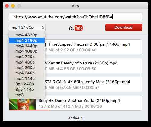 Download YouTube video using Airy for Mac