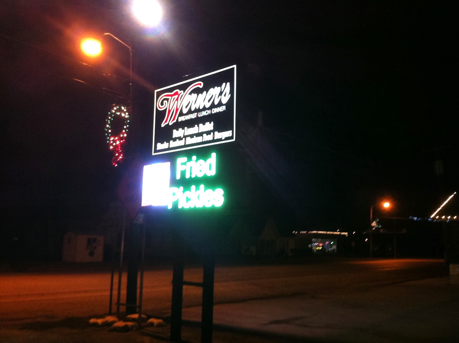 At 8 30pm On A Sunday Werner S Was The Only Restaurant We Found Open Our Drive Home Aside From Usual Cast Of Fast Food Joints
