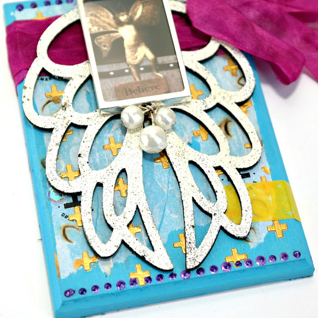 Believe Iced Enamels Embossed Wings Mixed Media Plaque by Dana Tatar for Tando Creative