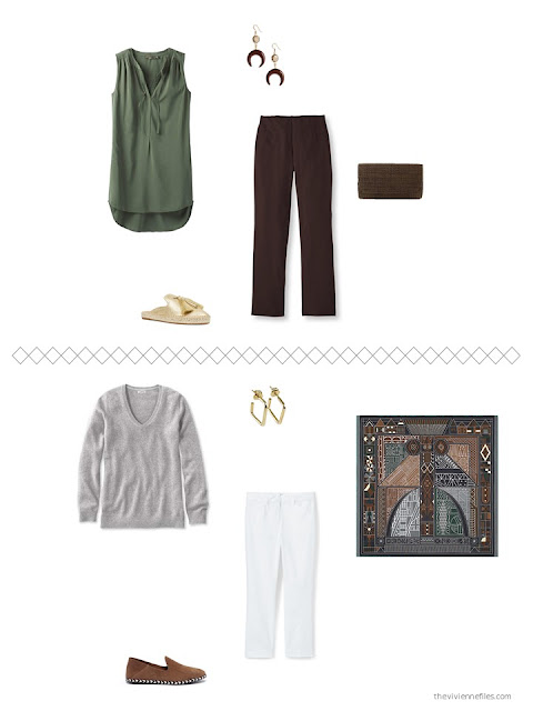 2 outfits from a capsule wardrobe in brown and green with grey and white accents