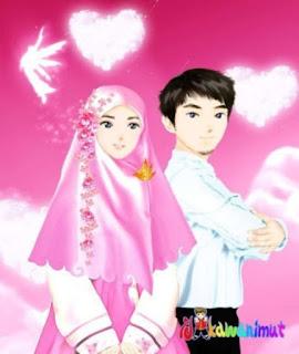 kartun islami pasangan pengantin baru muslim dan muslimah