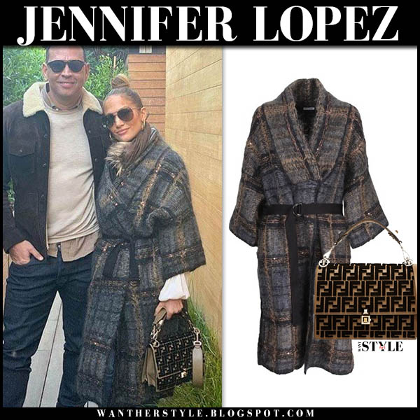 Jennifer Lopez in grey tartan belted coat brunello cucinelli celebrity winter style december 2
