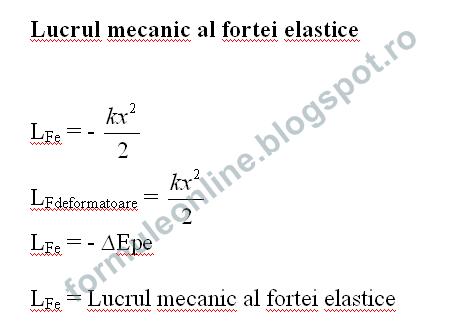 lucrul mecanic al fortei elastice