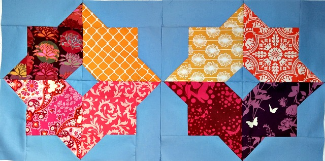 Puppilalla, Missouri Star Quilt Company, Double Square Star, Patchwork, Bee Block, Quilting Bee, Stash Bee