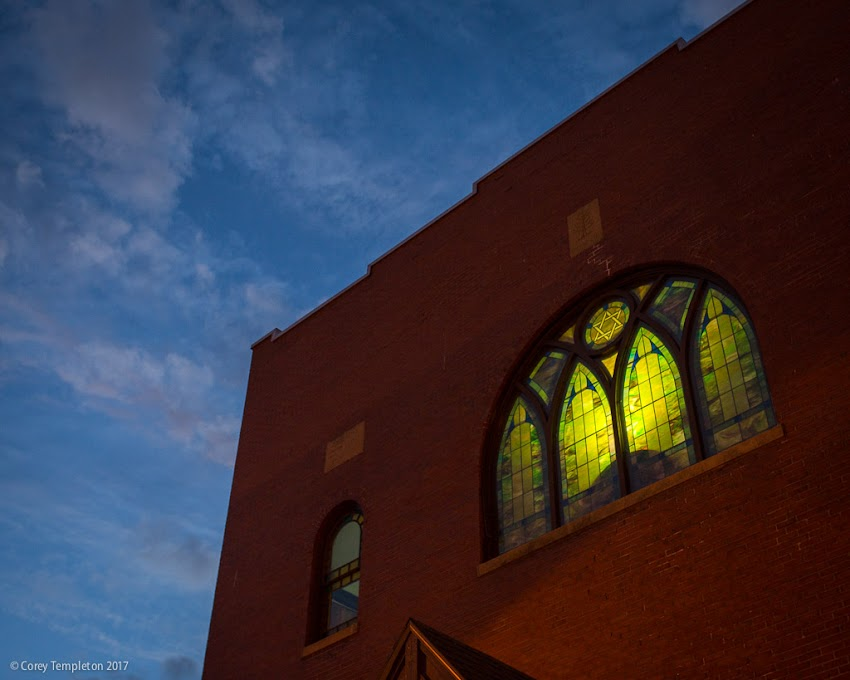 Portland, Maine USA March 2017 photo by Corey Templeton. A view of the stained glass window at the front of the Etz Chaim Synagogue, home of the Maine Jewish Museum, at Congress and India Streets.