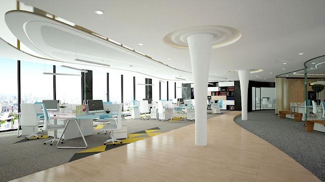 Tư vấn thiết kế văn phòng hiện đại sử dụng những gam màu nổi bật để tạo nên hiệu ứng riêng cho không gian văn phòng làm việc của mình